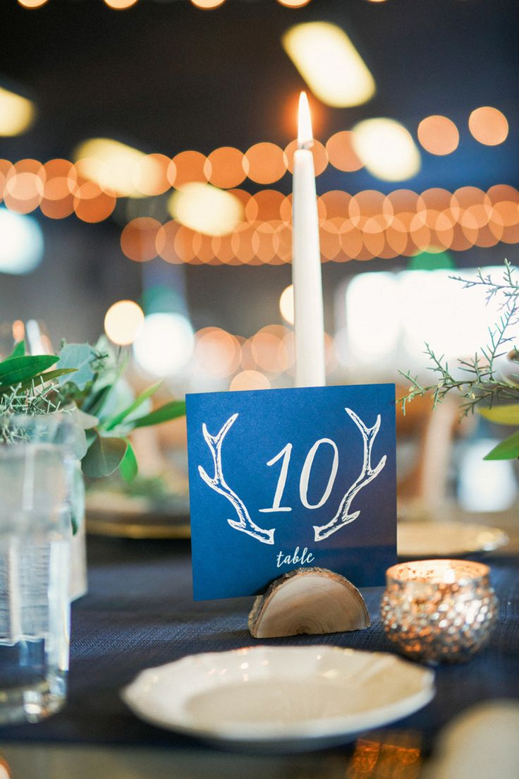 Dark blue wedding table number - Blue and gold rustic wedding table decorations   fabmood.com