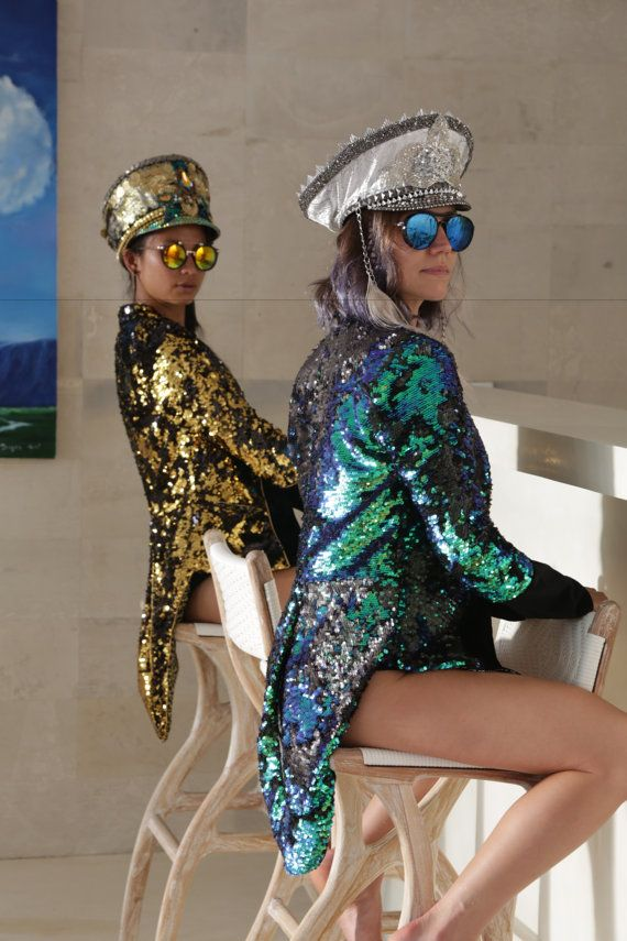 Love Khaos Reversible Sequin Tail Coat Jacket Womens Festival