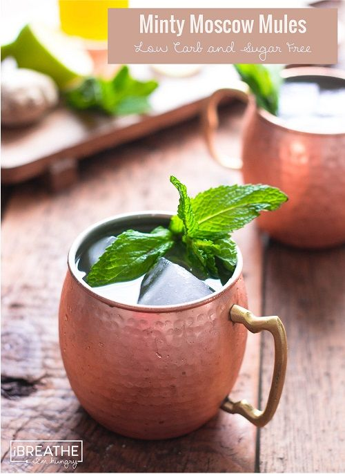 These low carb Moscow Mule cocktails are refreshing and festive but won't break the calorie bank at only 134 calories and 1.5g net carbs each!  Sugar Free!