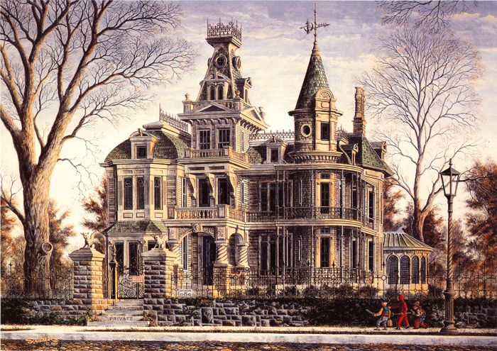 old abandoned victorian homes | Haunted Halloween Spook House Devil Signed Souders | eBay