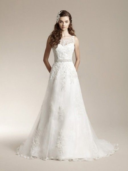 A-line/Princess Rems Lace rmlös Sweep Släp Lace Wedding Dresses