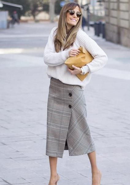 Fall skirt with buttons. Dressing up with this knee length skirt will be perfect for any plain tops! Button Up Plaid Wrap Skirt Style: Work Material: …