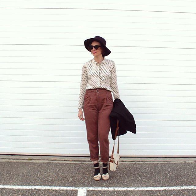 high waist pants, polkadot shirt. #socksandheels  maryjanes and socks