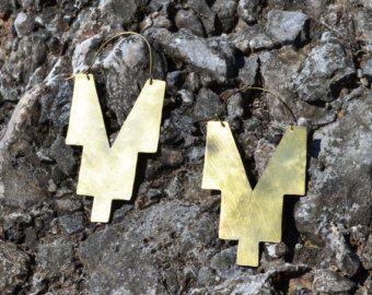 Geometric brass boho earrings
