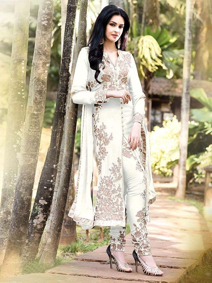 White New Indian Bollywood Designer Jacket Anarkali Pakistani Partywear Suit #BharatPlaza #DesignerSalwarKameez