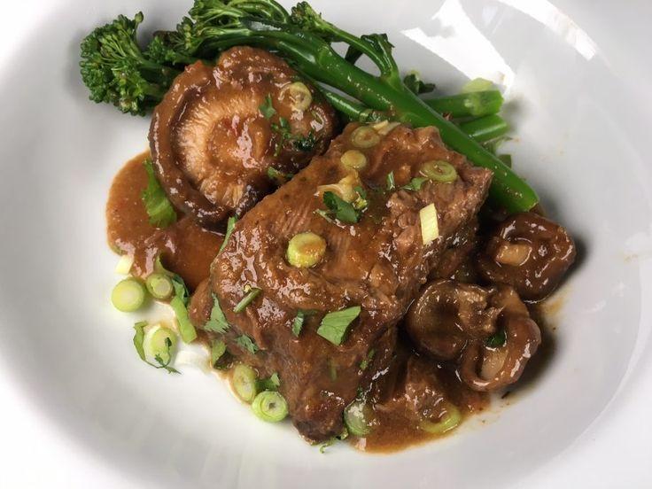Slow-braised short ribs of beef in teriyaki sauce with shitake mushrooms. Serves 6.