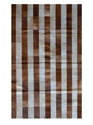 -19,850% OFF Natural Brand Stitch Hide Rug (Stripe Brown/White)