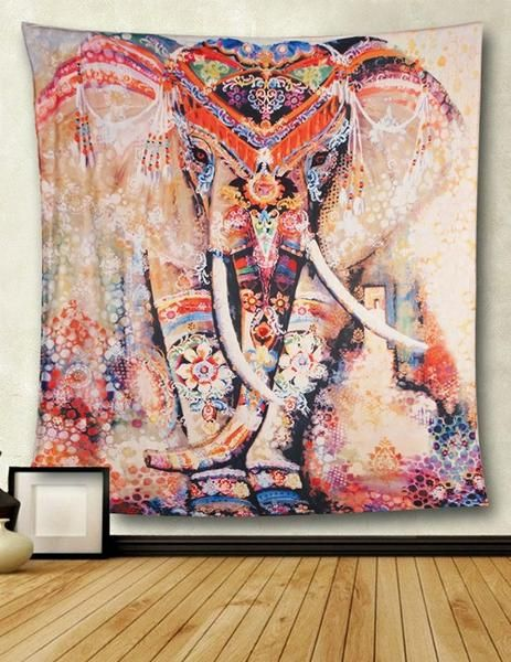 Tribal Watercolor Collage Boho Elephant Wall Fabric Tapestry