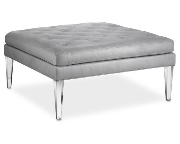"Lucite Ottoman | Williams-Sonoma  $3600 + $110 shipping  42"" square"