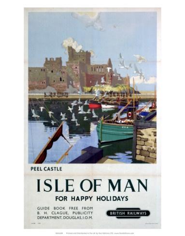 Vintage Travel Poster - UK - Isle of Man - Railway