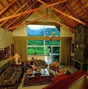 Lounge area at the Cathedral Peak Hotel.   http://www.south-african-hotels.com/hotels/cathedral-peak-hotel/