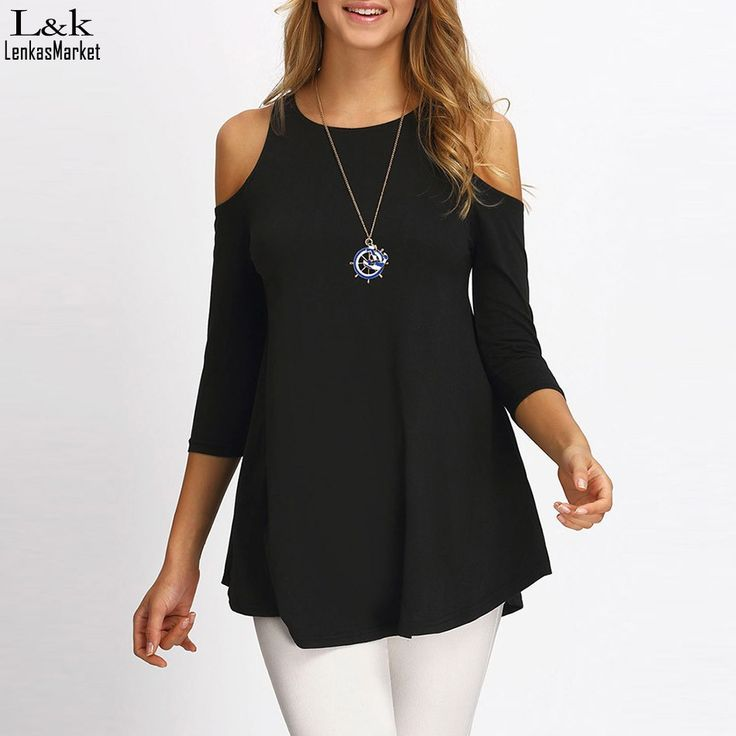 Women Casual Slim Sexy Solid Black T-shirts Ladies Fit Off Shoulder 3/4 Sleeve Autumn T shirt Tops Tees Blusas 63  #shopping #fashion #styles #love #model #streetstyle #stylish #iwant #beauty #instalike