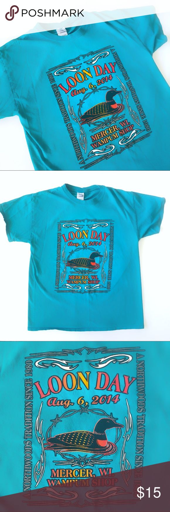 🦆Retro Neon Wisconsin Loon Day 90s Style Tee!🦆 So rad! Vintage inspired t shirt from the Wampum Shop in Mercer, Wisconsin! In honor of Loon Day. You know, a holiday dedicated to the Loon. In great shape! Unisex item! Offers welcome :) 🌟🦆🌟   Tags: 80s 80's 90's day glow glo urban Tops Tees - Short Sleeve