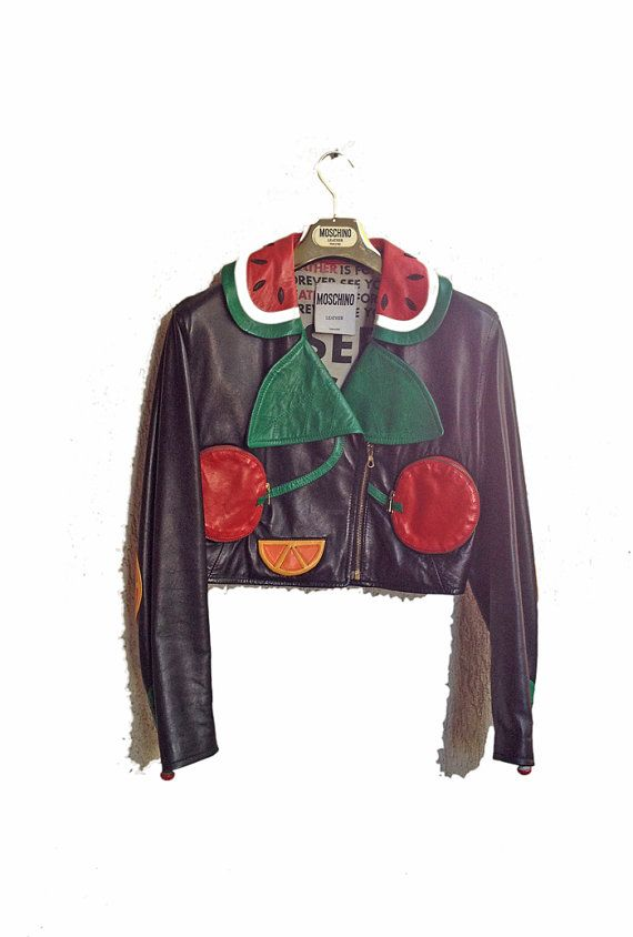 Vintage Moschino Jacket Leather Fruit 80s by WitchOfVintage