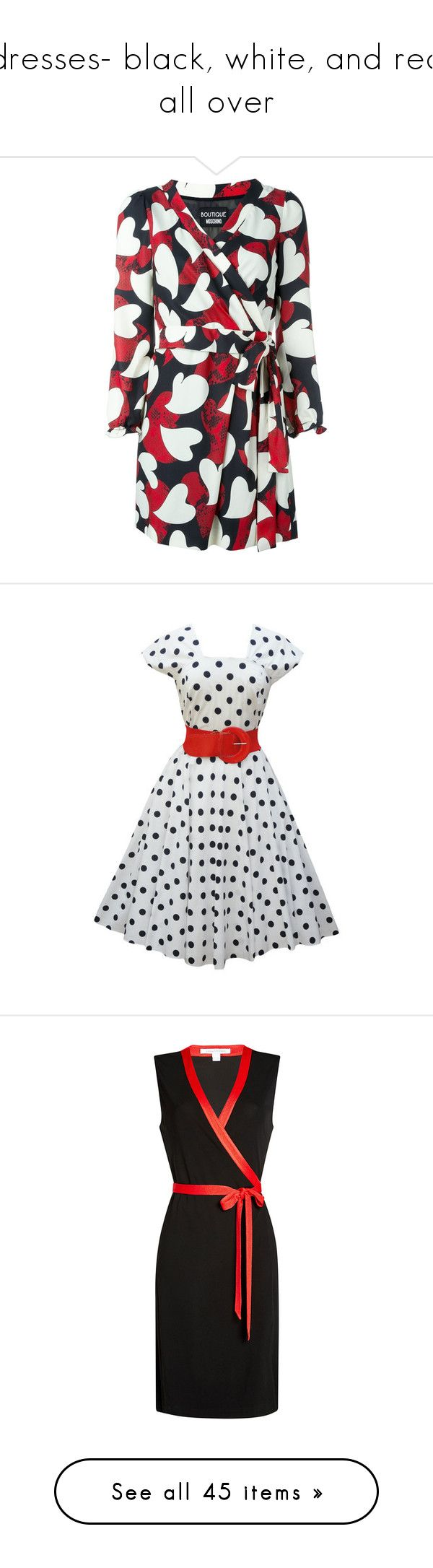"""""""dresses- black, white, and red all over"""" by jennifertrimble ❤ liked on Polyvore featuring dresses, black, heart print dress, wrap dresses, heart pattern dress, boutique moschino dress, boutique moschino, vestidos, short dresses and polka dot"""