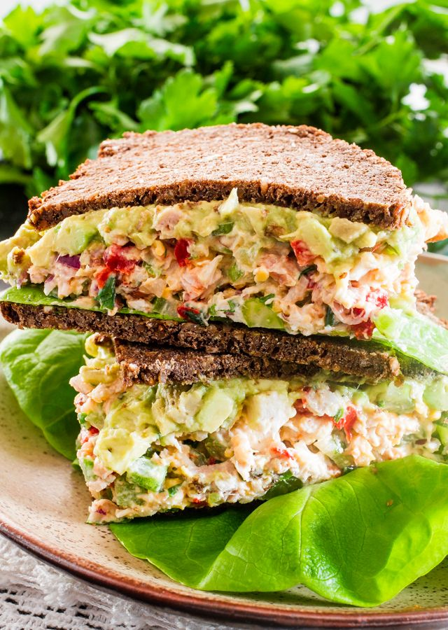 Loaded Chicken Salad Sandwiches with Guacamole FoodBlogs.com