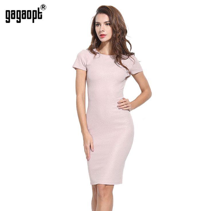 Gagaopt 2017 лето женщины платья розовый гольфы тощий office dress короткий рукав повязку одежды bodycon vestidos карандаш dress купить на AliExpress