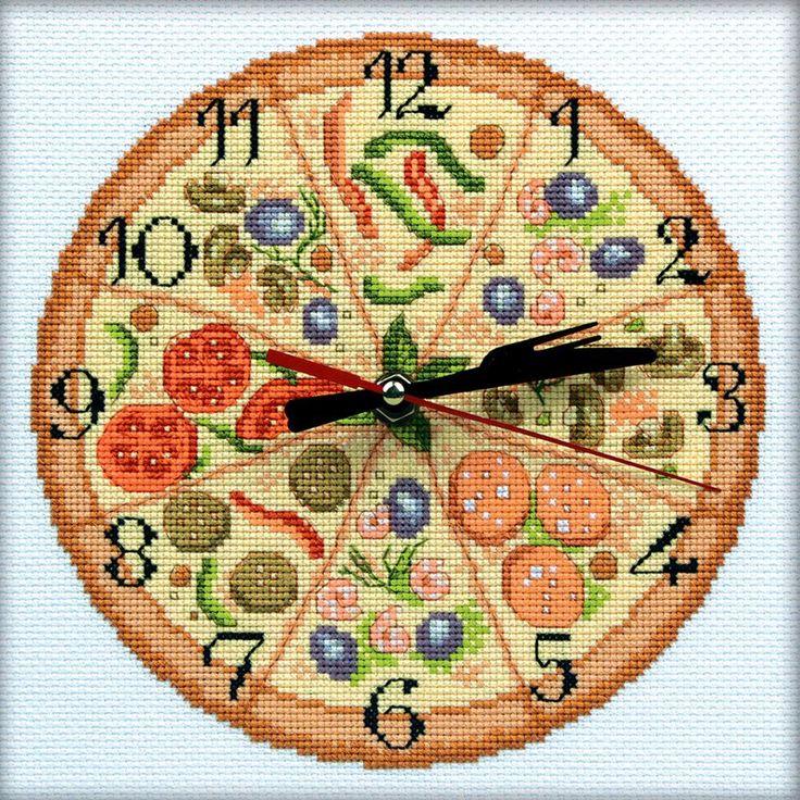 "Bon Appetit! Clock Counted Cross Stitch Kit-8""X8"" 14 Count"