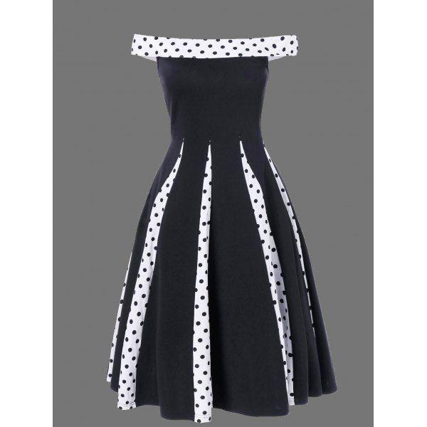 Polka Dot Trim Fit and Flare Dress, BLACK, M in Vintage Dresses   DressLily.com