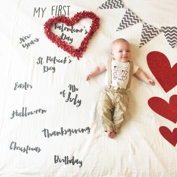 "Baby ""My Firsts"" Holiday blanket Cotton Muslin Swaddle Blanket."