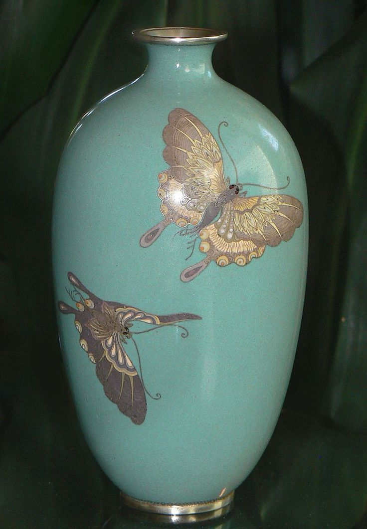Japanese Cloisonne Enamel Vase With Butterflies From Goldenage On Ruby Lane Antiques Fine Bone