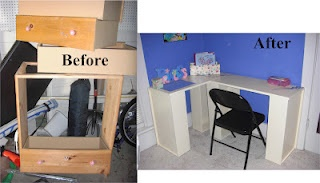 Dresser turned into deskDressers Drawers, Turn Desks, Dressers Turn, Furniture Crafts, Crafts Time, Clever Crafts, Crafts Diy, Repurpoed Dressers Desks, Reuse Dressers