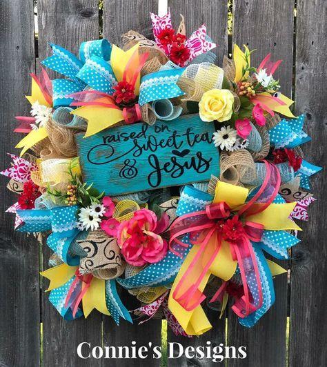 Everyday Wreath, Summer Wreath, All Seasons Wreath, Farmhouse Wreath, Country Wreath, Jesus, Sweet Tea, by ConniesDesignsWreath on Etsy https://www.etsy.com/listing/540028621/everyday-wreath-summer-wreath-all