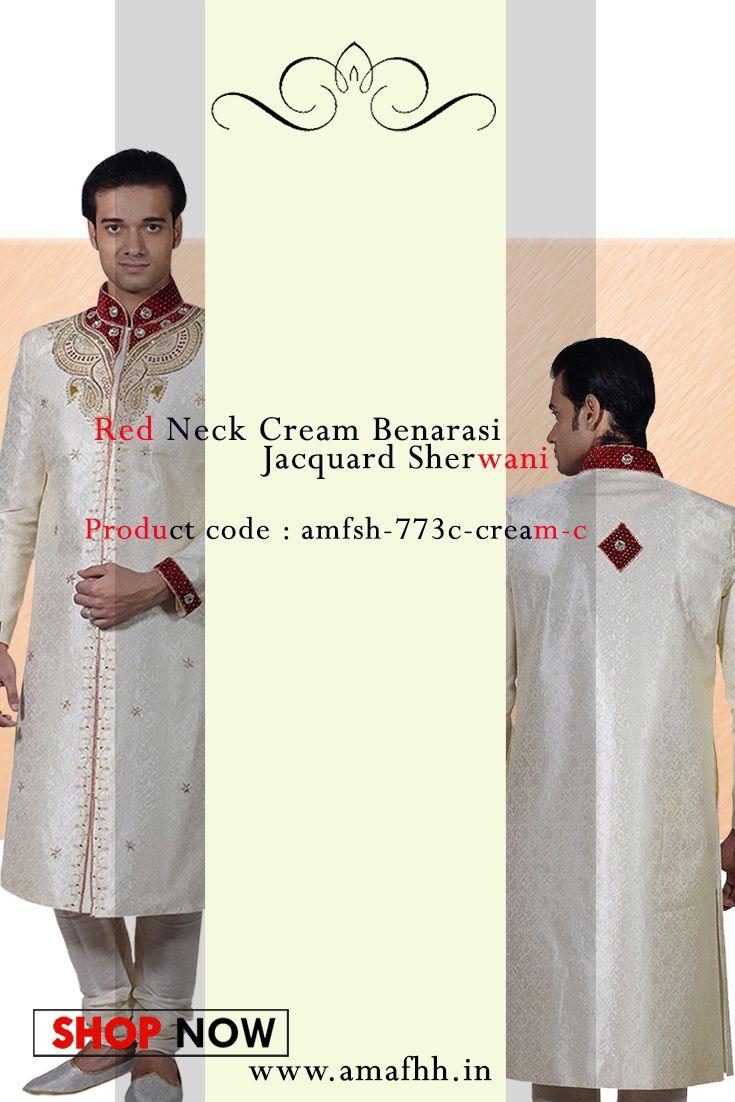 Be the one to define your own style owning this good-looking cream shade #benarasi #jacquard #sherwani https://goo.gl/MUeWRn