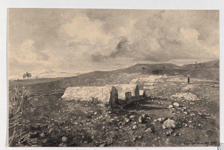 Glasinac Landschaft, serbischer FriedhofBeschreibung:mit Bogomilengräber, im Hintergrund prähistorische Tumuli Pinselzeichnung in Grau, laviert, von Hugo Charlemont, signiert und datiert 1897