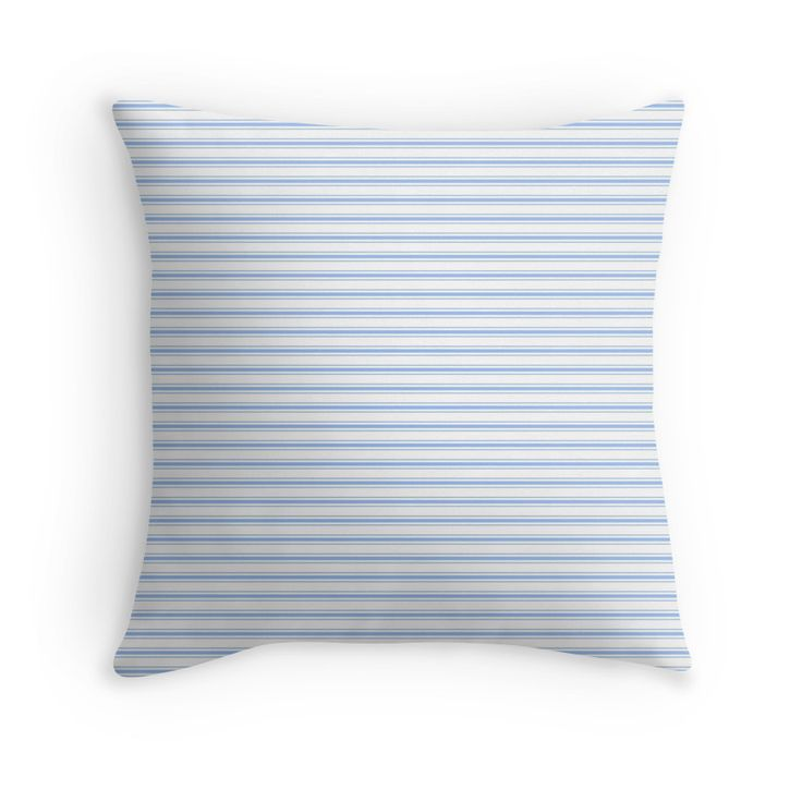 Mattress Ticking Narrow Horizontal Stripe in Pale Blue and White   Mattress Ticking Narrow Horizontal Stripe in Pale Blue and White The stitched and woven straight horizontal lines of one thin stripe either side of a wider stripe are found in the traditional mattress ticking pattern.The classic pale blue and white ticking seen in mattresses bedding and pillow covers is known the world over and is here in a narrower version.