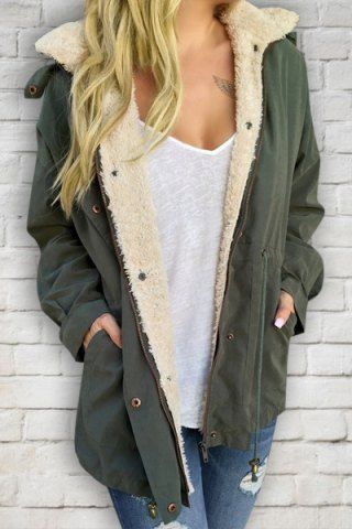 Casual Convertible Faux Fur Hooded Thick Fleece Coat For Women Coats   RoseGal.com Mobile
