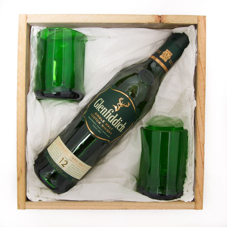 Glenfiddich Whiskey Gift Pack. This Twice Drunk gift pack brings together the best of what was and what is: Two stunning glasses upcycled from the unique triangle-shaped Glenfiddich bottle PLUS a 700ml bottle of Glenfiddich Single Malt Scotch Whiskey to be enjoyed in your new glasses!   This beautiful gift pack is presented in a handmade wooden box created from recycled fence palings. Treat yo'self or surprise someone with this extra special indulgent gift pack! Available at…
