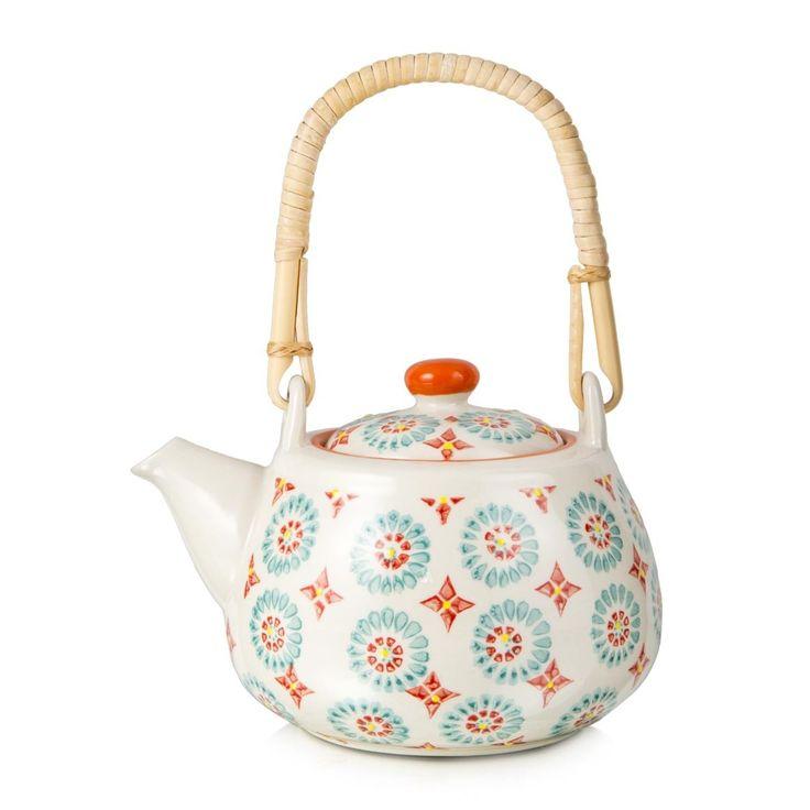 Hand-Painted Print Teapot