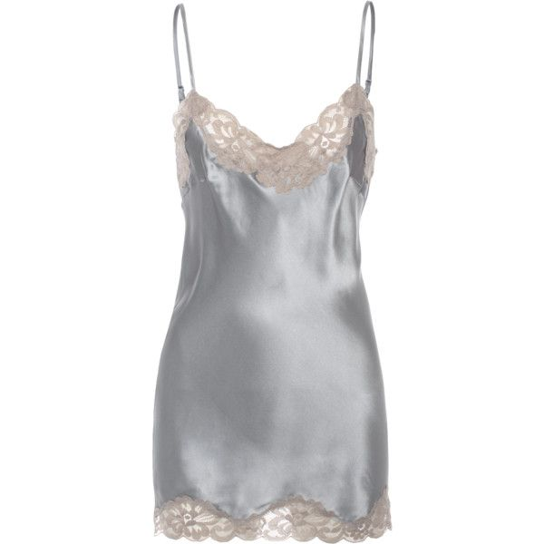 FALCON & BLOOM Romantic Cami Silk Beige Grey // Short silk dress with... (90 CAD) ❤ liked on Polyvore featuring lace camis, beige cami, beige camisole, gray camisole and sexy lace camisole