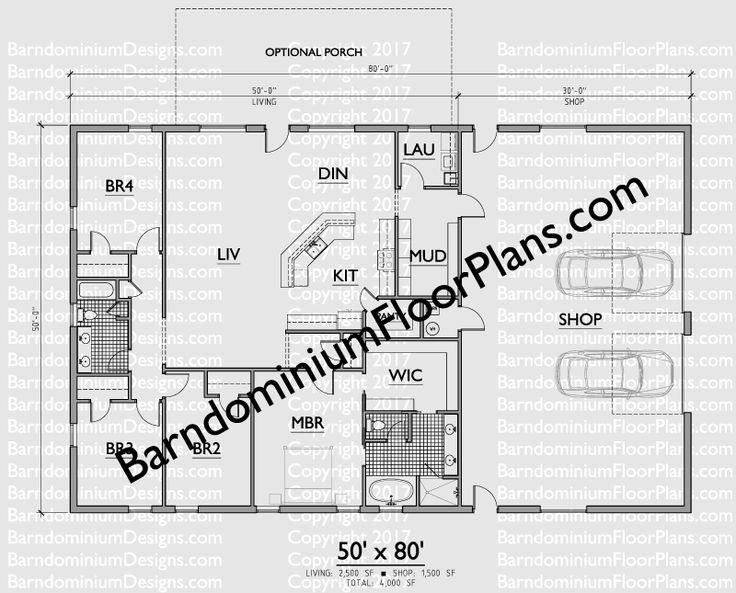 Top 25 best barndominium plans ideas on pinterest for Barndominium floor plans with shop