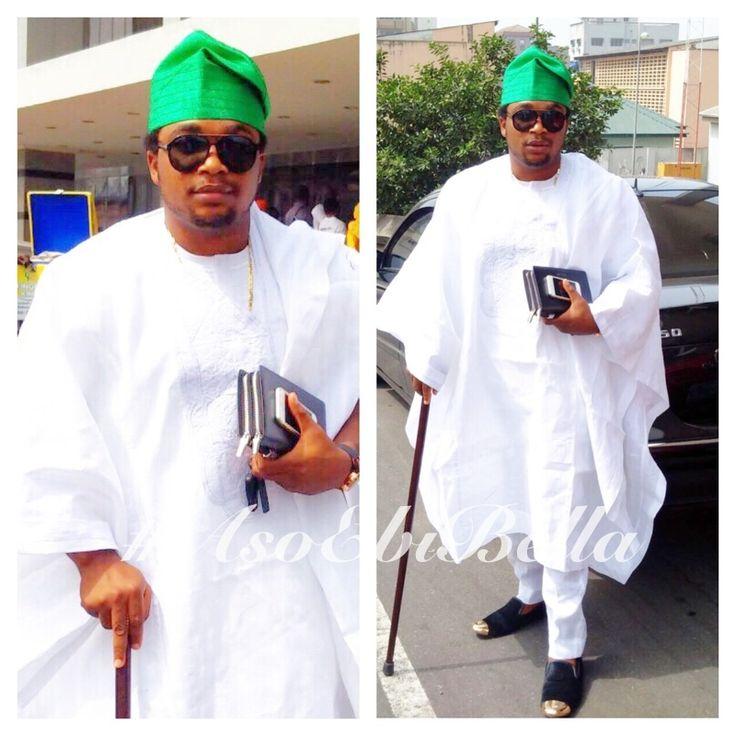 White Agbada & Green Aso-Oke Cap