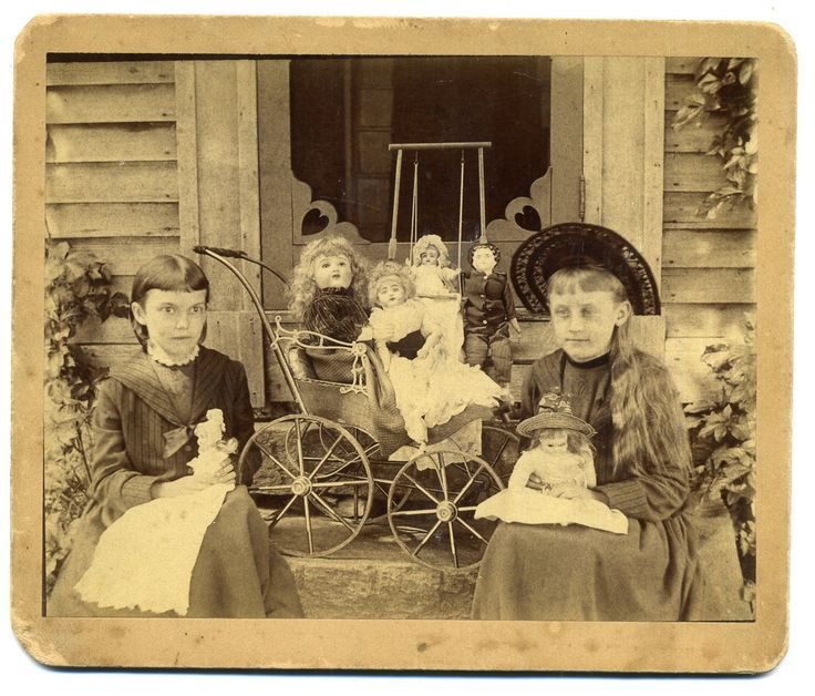 2 Girls 6 Dolls Antique Doll in Swing Vintage Baby Carriage Antique Photo   eBay