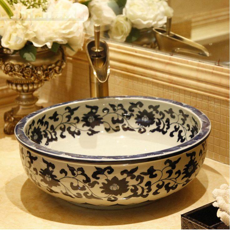 Cheap basin wash, Buy Quality basin tapware directly from China basin marble Suppliers: Blue And White China Handmade Ceramic Art Basin Sinks Counter Top Wash Basin Bathroom Vessel Sinks ceramic basin wash ba