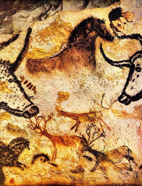 Ancient Paleolithic paintings in Lascaux, south west of France. This cave art is located near the village of Montignac in the Dordogne. Dates to around 12,000 BC. Plus