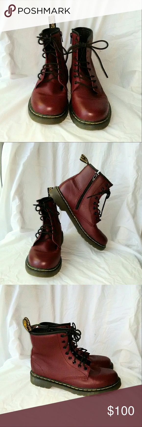 Dr. Marten Dark Red Delaney Boots nwot Red ankle boots with 8 eyelets and inside zipper. Boots are brand new without tags and never worn. Dr. Martens Shoes Ankle Boots & Booties
