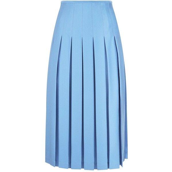 Victoria Beckham Pleated Midi Skirt ($1,775) ❤ liked on Polyvore featuring skirts, midi skirts, box pleat skirt, knee length pleated skirt, pleated skirt and box-pleat skirt