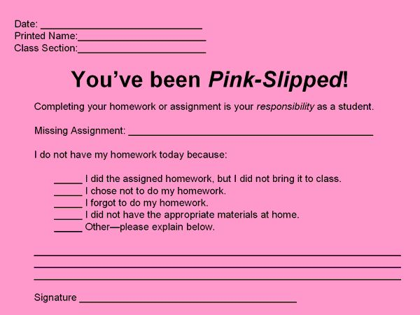 I think I'll use this next year- no homework pink slip