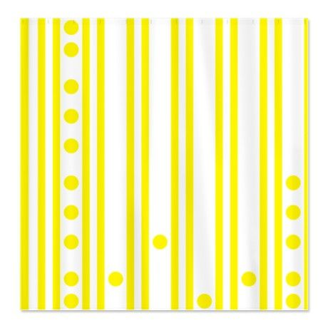 Modern dots and stripes Yellow Shower Curtain #circusvalley