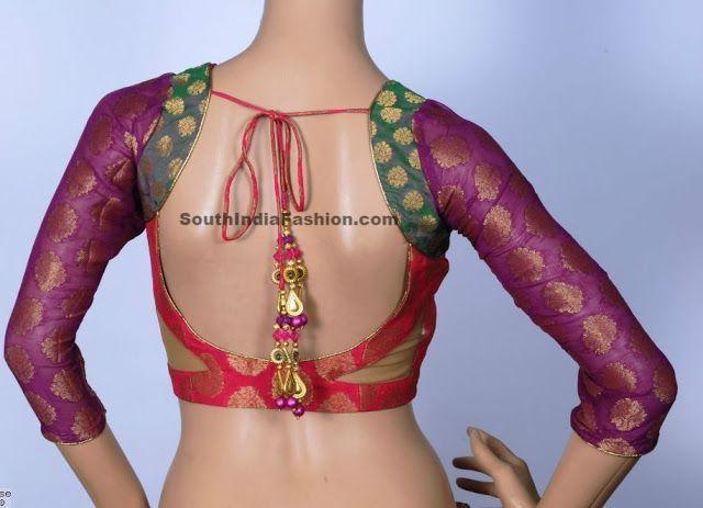 Multicolor Brocade Blouse ~ Celebrity Sarees, Designer Sarees, Bridal Sarees, Latest Blouse Designs 2014 South India Fashion