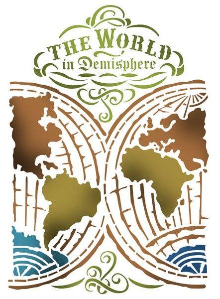 Трафарет для росписи Карта мира KSG376 купить, интернет магазин АртДекупаж