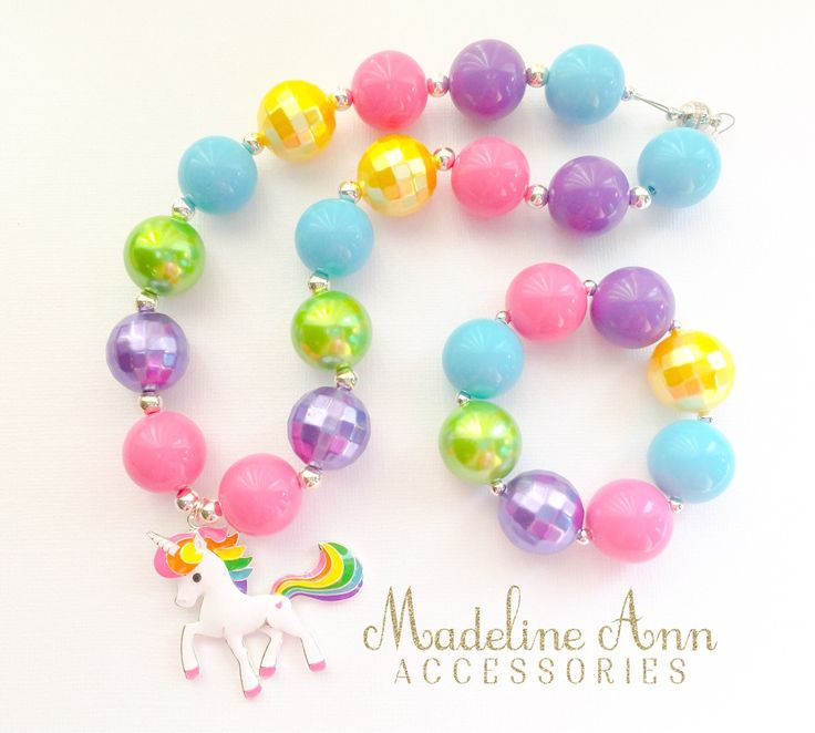 Girls Unicorn Necklace, Baby Girl Rainbow Bubblegum Necklace, Teen Girls Necklace, Rainbow Cake Smash, Chunky Bead Necklace, Unicorn Pendant by MadelineAnnAcc on Etsy https://www.etsy.com/ca/listing/526202257/girls-unicorn-necklace-baby-girl-rainbow