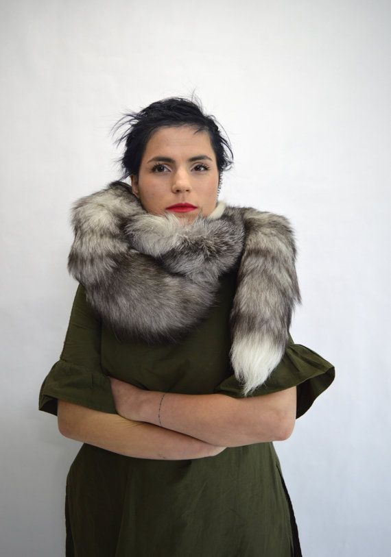 Real frost fox fur scarf  fur wrap collar fur pelt. by BeFur