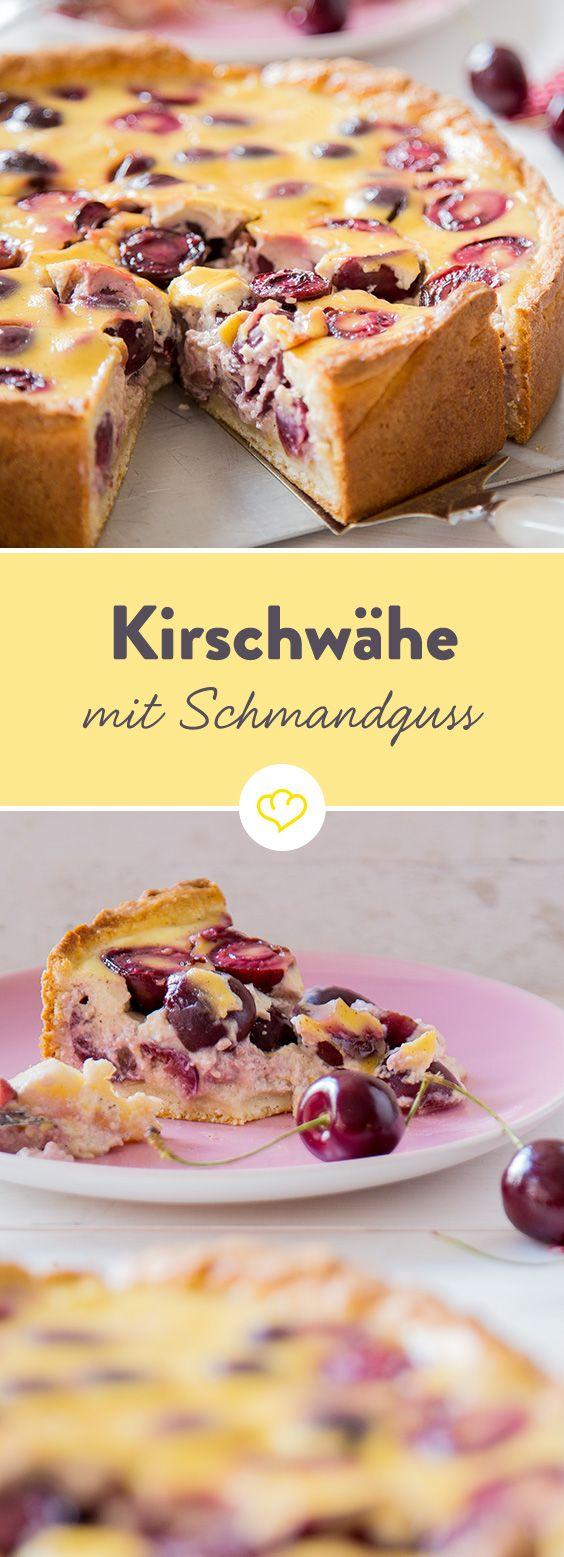 In der Schweiz backt man keinen Kuchen, sondern eine Wähe - eine Kirschwähe um genau zu sein. Das Charakteristische: der cremige Schmandguss.