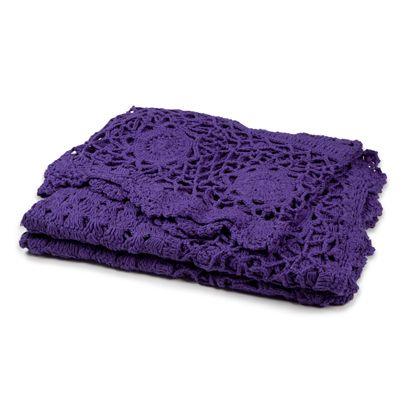 130x180cm Crochet Throw Grape