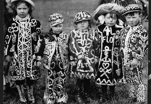 little Pearly Kings and Queens ... east-end London, UK ... ca. 1890s